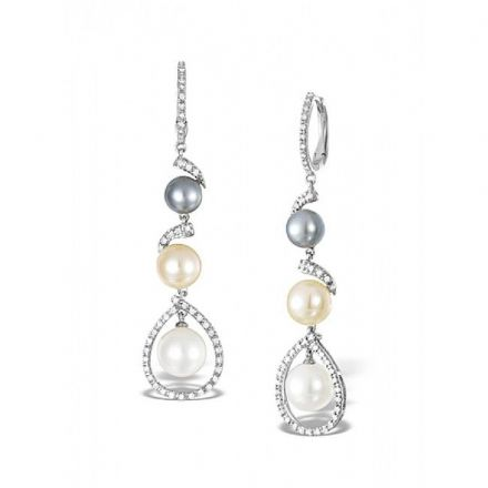 9K White Gold 0.46ct Diamond & 0.46ct Pearl Earrings, F2259